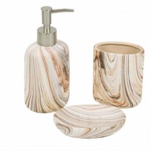Set ceramica 3 piese Ligneous, Pufo, maro bej cu aspect de lemn