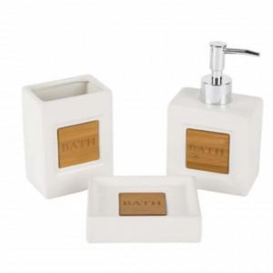 Set ceramica Pufo White din 3 piese pentru baie, alb