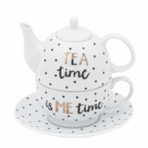ceainic si cana cu farfurie cafea
