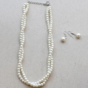 set cercei si colier perle albe