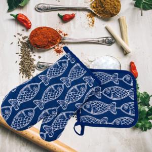 Set manusa de bucatarie pentru gratar sau cuptor si suport pentru vase fierbinti, albastru cu model
