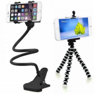 Set suport Pufo de birou sau auto pentru telefon si GPS + trepied flexibil cu suport pentru telefon mobil sau aparat foto, universal, negru