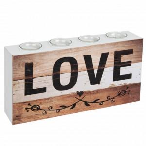Suport de lumanare din lemn cu 4 locuri, model Love, 40 x 20 cm