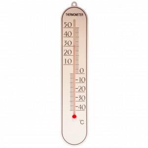 Termometru de perete Pufo Simple pentru interior/ exterior, 25 x 5 cm, alb