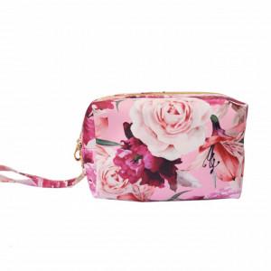 Trusa portfard pentru depozitare cosmetice Pufo Beauty Rose, 20 cm, roz
