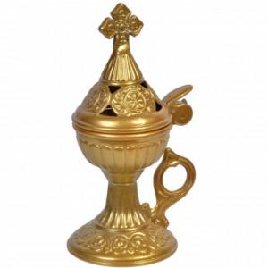 Vas catuie antimoniu auriu pentru arderea tamaii cu capac si maner, metalic, Pufo, 15 cm