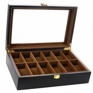 Cutie caseta din lemn pentru depozitare si organizare 12 ceasuri, model Pufo Imperial, negru mat