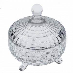 Bomboniera Pufo Diamond din sticla cu capac, 230 ml