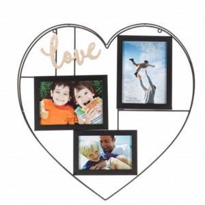 Cadru rama foto metalic Pufo in forma de inima pentru 3 poze, 50 x 47 cm, negru