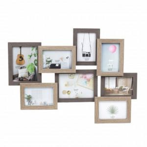 Cadru rame foto Pufo din lemn 8 locuri, 63 x 47 cm, maro