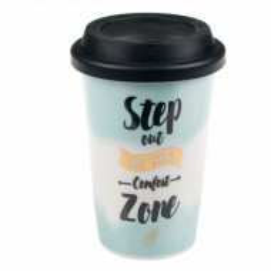Cana ceramica Pufo Step on the confort zone pentru cafea cu capac din silicon, 415 ml