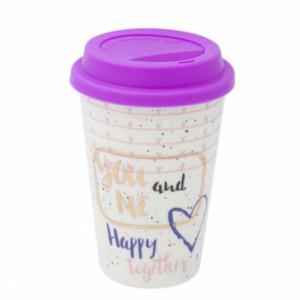 Cana ceramica Pufo You&me pentru cafea sau ceai cu capac din silicon, 400 ml