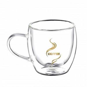 Cana cu pereti dubli Pufo pentru bauturi fierbinti, cafea sau ceai, 200 ml, transparent