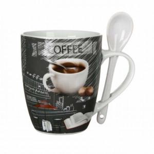 Cana din portelan pentru cafea sau ceai cu lingurita, 350ml, Pufo