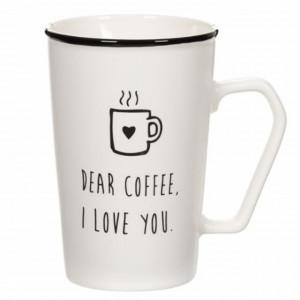 Cana pentru cafea cu mesaj Coffee I love You, 400 ml, Pufo, alba