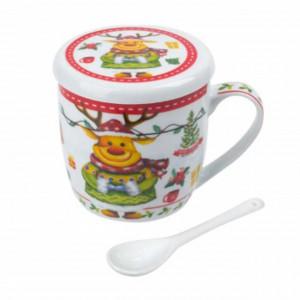 Cana pentru cafea sau ceai Pufo cu lingurita, model Renul fericit