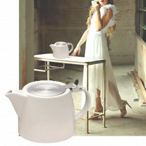 Ceainic din portelan Pufo cu filtru metalic, 510 ml, alb