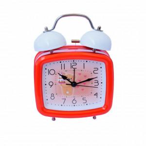 Ceas de masa desteptator pentru copii Pufo Joy, cu buton de iluminare cadran, 16 x 12 cm, model Lovely Bear