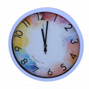 Ceas decorativ de perete Pufo Colourful, 30 cm, alb