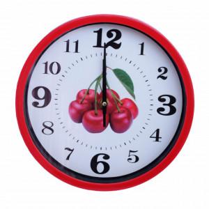 Ceas decorativ de perete Pufo Fruits, model Cherry, 25 cm, rosu