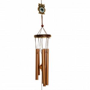 Clopotel de vant cu 5 tuburi sonore metalice pentru casa sau gradina, model clasic cu bufnita