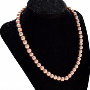 Colier de dama scurt cu perle acrilice cafenii, model Cappuccino beads