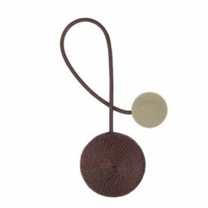 Cordon de strangere pentru perdea cu magnet, model Pufo, maro