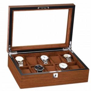Cutie caseta din lemn pentru depozitare si organizare 10 ceasuri, model Pufo Elite Edition cu cheita, maro