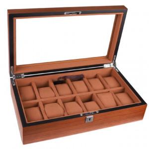 Cutie caseta din lemn pentru depozitare si organizare 12 ceasuri, model Pufo Elite Edition cu cheita, maro