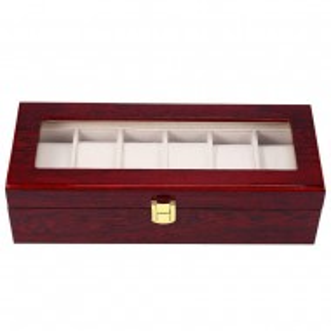 Cutie caseta din lemn pentru depozitare si organizare 6 ceasuri, model Premium