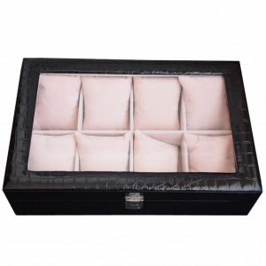 Cutie caseta eleganta Pufo cu compartimente pentru depozitare si organizare 8 ceasuri, imprimeu crocodil, model Premium, negru