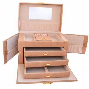 Cutie eleganta Pufo Gourgeos pentru depozitare si organizare accesorii si bijuterii, maro