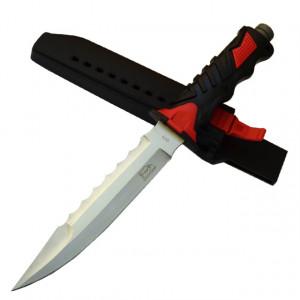 Cutit baioneta 34 cm, lama dubla, zimtat, teaca material pvc