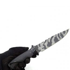 Cutit de vanatoare 32 cm Full Tang, model Black Legion Style, maner ergonomic, teaca inclusa