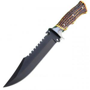 Cutit de vanatoare 32 cm negru, maner ergonomic imitatie corn cerb, teaca inclusa