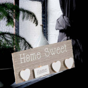 Decoratiune Pufo din lemn cu cleme pentru prins poze, model Home Sweet