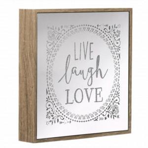 Decoratiune Pufo din lemn si oglinda cu 30 leduri, model Live Laugh Love, 21 x 21 cm