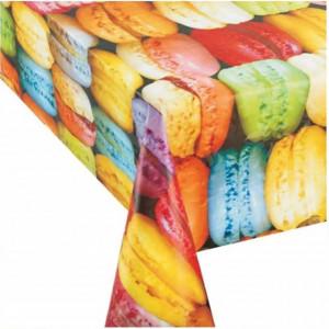 Fata de masa tip musama Pufo, model cu macarons, 140 x 180 cm