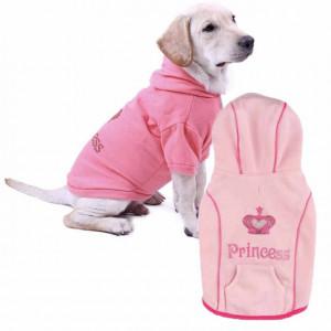 Haina cu gluga Pufo pentru caini, imprimeu Princess, roz