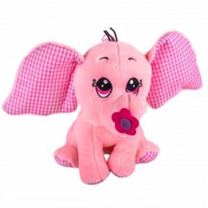 Jucarie de plus Happynky Elephant Pufo, 21cm, roz