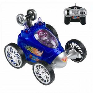 Masina acrobatica Pufo Fast Blue cu telecomanda, rotire 360ᵒ, cu sunete