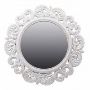 Oglinda decorativa eleganta de perete Pufo Glossy, rotunda, 52 cm, alba