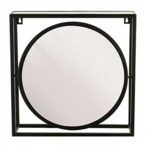 Oglinda rotunda de perete Pufo Unique cu rama si cadru metalic, 40 x 40 cm, negru
