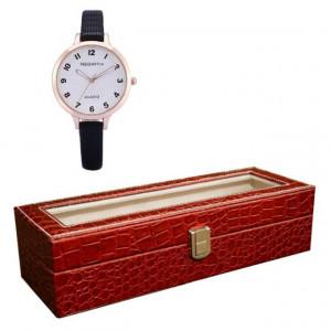 Pachet cutie caseta eleganta depozitare cu compartimente pentru 6 ceasuri, imprimeu crocodil, rosu + 1 ceas elegant de dama Rebirth