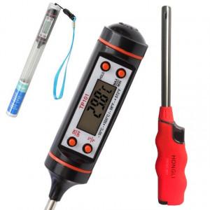 Pachet termometru digital cu sonda pentru bucatarie, lichide, alimente, lactate, prajituri, ceara, etc. -50° C - +300° C + Aprinzator reglabil si reincarcabil pentru aragaz tip bricheta, portocaliu