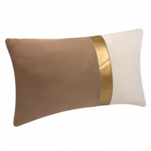 Perna decorativa catifelata bicolora Pufo cu fermoar, 30 x 50 cm, auriu/maro