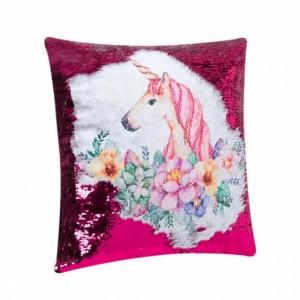 Perna decorativa pentru copii Pufo, model Unicornul Magic, 40 x 40 cm