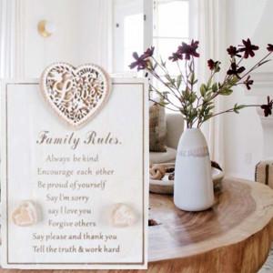 Placa decorativa Pufo din lemn, model Family rules, 14 x 20 cm
