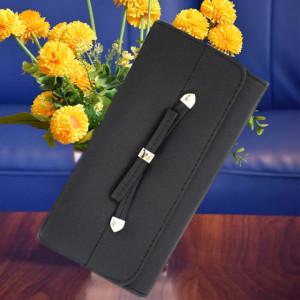Portofel elegant dama cu fundita, negru