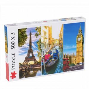 Puzzle modern Paris, Venetia si Londra, 3 x 500 piese